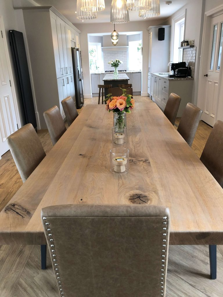 Interior Design – A large wooden dining table