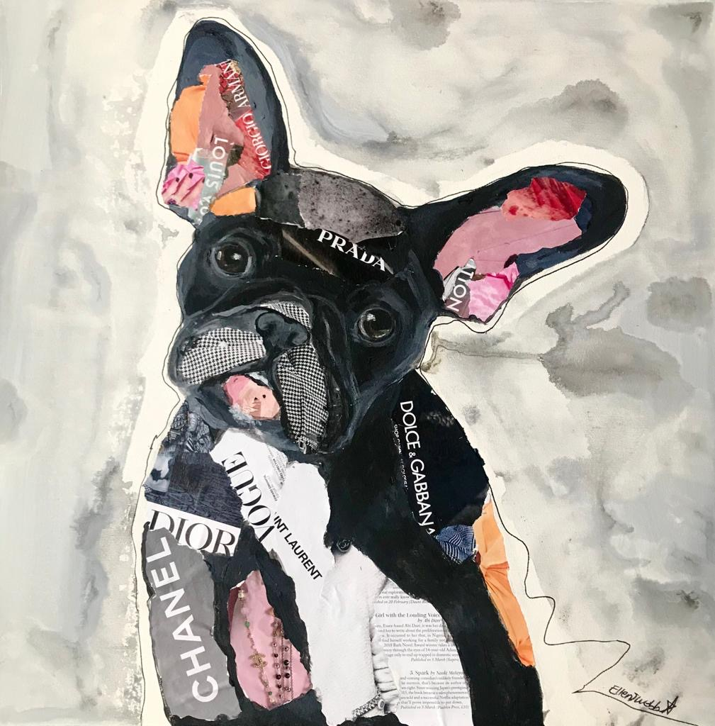 Artwork by Ellen Webb, a collage of a dog made up of brand names and paint